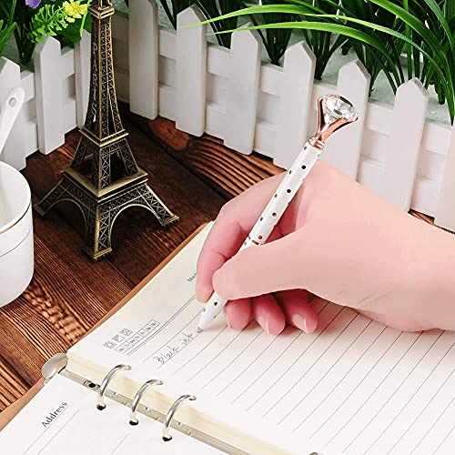 3 PCS Diamond Ballpoint Pen Big Crystal Bling Metal Pens for Girl Women, School Office Supplies Includes 3 Pen Refills Rose Gold/Pink/White With Rose Polka Dots Photo #6