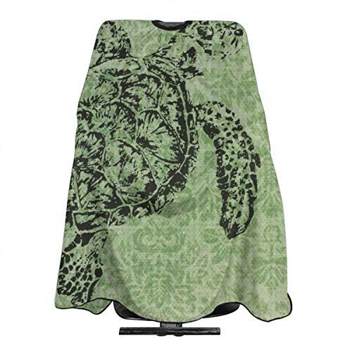 Tablier de coiffure imperméable pour homme et femme Motif tortue Vert 140 x 168 cm