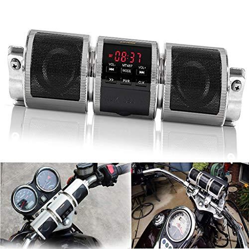 Waterproof Bluetooth Motorcycle Scooter Bike ATV Jet Ski Stereo Sound System Radio Remote Alarm Speaker FM Radio MP3 Player (Silver)