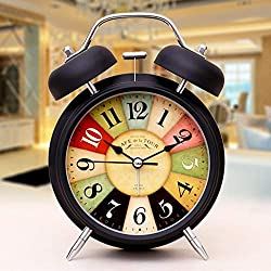 XF Vintage Retro Old Fashioned Decorative Quiet Non-Ticking Sweep Second Hand, Quartz Analog Large Numerals Desk Clock, Battery Operated, Loud Alarm