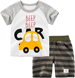 Little Boys Summer Cartoon Cotton Clothing Sets Kids Baby Toddler T-Shirt&Shorts Outfits Set Clothes