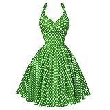 TEBAISE Damen Vintage Retro 1950er Rockabilly Neckholder Kleid Knielang Polka Dots Elegant Festlich...