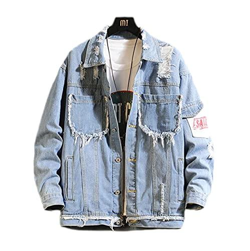 Männer Denimjacke Ripping Slim-Fit Denim Jacke, Herren Riss Harbour Style Denim Jacke Lose Arbeitskleidung Jacke (Color : Blue, Size : L)