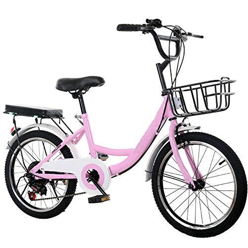 Berkalash 20 Zoll Cityrad Cityfahrrad, Kinderfahrrad Citybike City Fahrrad für Kinder Junge Mädchen, mit Korb und Sattel (Rosa)