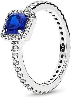Timeless Elegance Ring, True Blue Crystal & Clear CZ 190947NBT