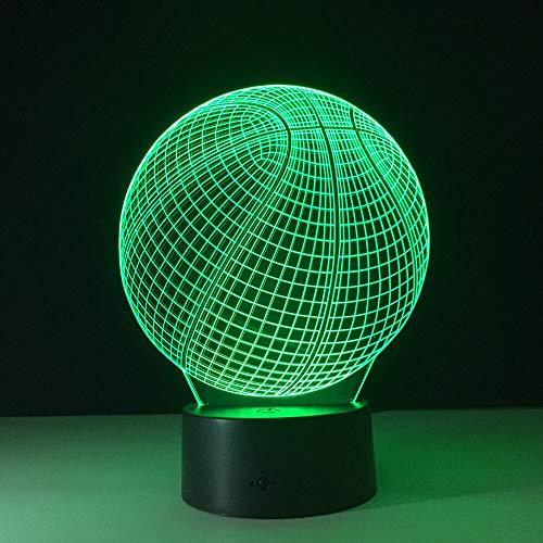 Baloncesto de luz nocturna Led 3D con lámpara de mesa de 7 colores para la decoración del hogar Visualización Lámpara de atmósfera de ilusión óptica