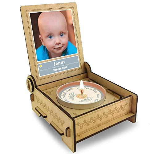 Candle IN THE BOX Geschenk-Box für Patenonkel mit Botschaft & Kerze   Personalisiert mit Bild und mit Namen   Danke DASS du Mein Patenonkel bist (Blau)