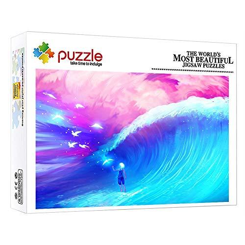 FFGHH Puzzle 1000 Piezas Infantil Mini Puzzle Puzzles para Adultos Amigo Niños Puzzles 1000 Piezas Hermosas Olas Decoración del Hogar 38Cm X 26Cm
