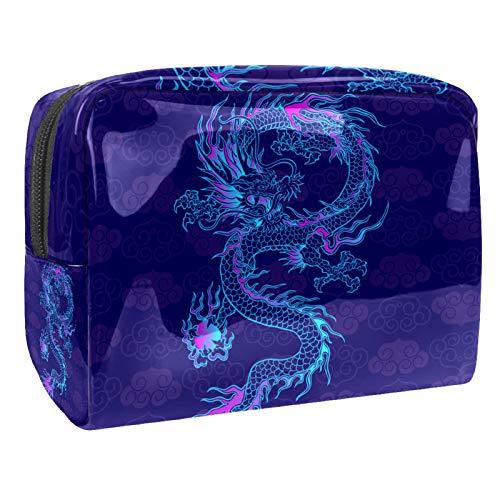 Bolsa de Maquillaje Dragón Chino Retro Neceser de Cosméticos y Organizador de Baño Neceser de Viaje Bolsa de Lavar para Hombre y Mujer 18.5x7.5x13cm