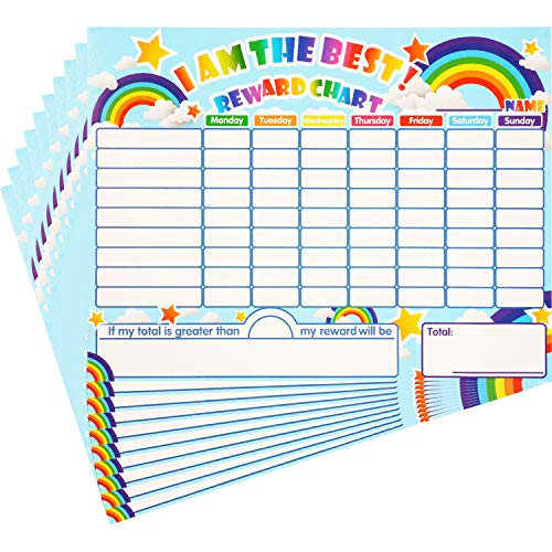 Reward Chore Chart Dry Erase Behavior Chart Learning Responsibility Star Chart Reusable Self-Adhesive Reward Chart in Home and Classroom Learning, 14.5 x 11 Inches (10 Pieces)