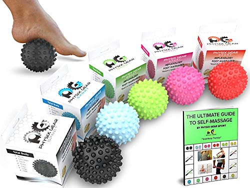 Physix Gear Sport Lacrosse Ball Set of 2 - Best Deep Tissue Massage Balls for Trigger Points, Plantar Fasciitis Neck & Back Pain - Roller for Rehab, Acupressure Foot Reflexology & Myofascial (PNK 2PK)