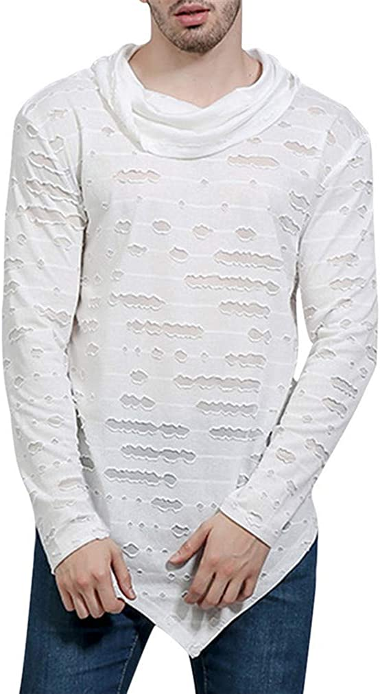 Men's High-Necked Sweaters Irregular Top Male Sweater Solid Color Mens Casual Pullover Style 2 White XL