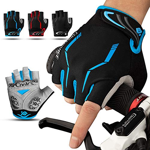 Cool Change Cycling Gloves Mountain Bike Gloves SBR Padded Shockproof | Anti- Slip | Breathable Gloves Half Finger Bicycle Gloves for Men Women
