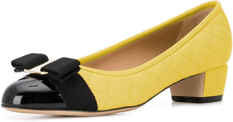 FSJ Women Cute Bowknot Block Low Heel Pumps Round Toe Slide Comfy Office Ladies shoes Size 4-15 US