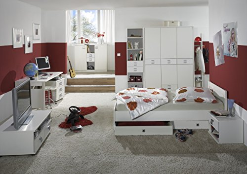 Dreams4Home Jugendzimmer 'Vamo White', Kinderzimmer, Kinderschreibtisch, Schreibtisch, Kinderzimmerset, Einlegeböden:ohne Einlegeböden;Schubkastenkommode:mit Schubkästen