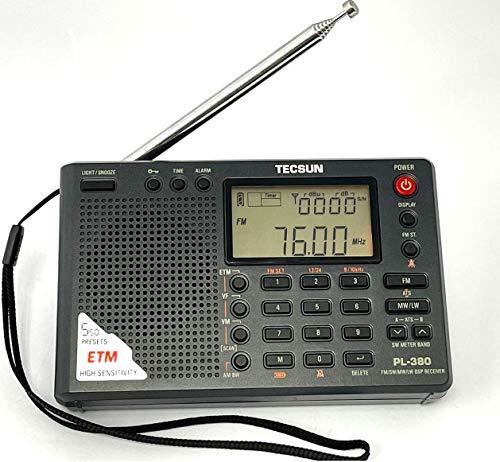 TECSUN 日本正規代理店 PL-380 (黒) 遠距離受信最適 高感度 BCL 短波ラジオ FM/MW/SW/LW 日本語版説明書付...