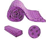MAXYOGA Toalla para Hacer Yoga - Yoga Mat Towel - Antideslizante con Puntos de Gomas de Agarre. 61 cm x 183 cm. Ideal para Poner sobre Esterilla y Practicar Hot Yoga. (Morado)
