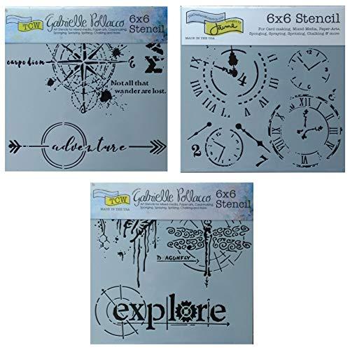 3 plantillas de medios mixtos para taller, brújula, viajes, explorar tema, para diario, álbumes de recortes, artes, tarjetas, juego de plantillas de 6 pulgadas x 6 pulgadas