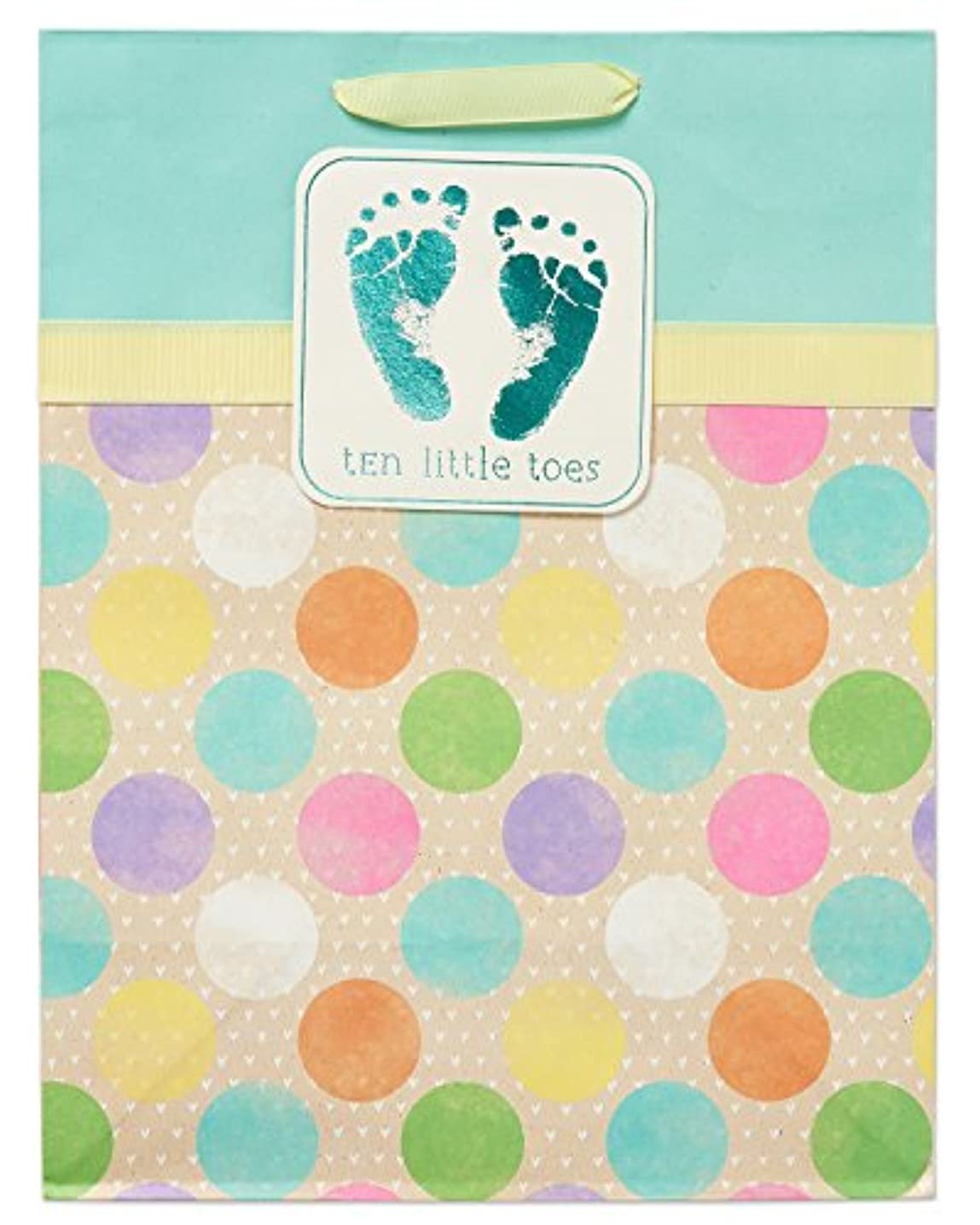 American Greetings Medium Baby Gift Bag, Ten Little Toes with Dots