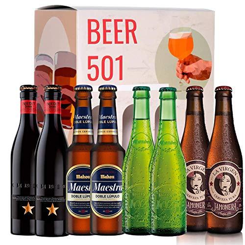 Pack de cervezas degustación BEER 501 - Caja Cerveza Premium España: Inedit, Mahou Maestra, Alhambra 1925 y La Virgen Jamonera. I La mejor selección de cervezas para regalar y disfrutar.