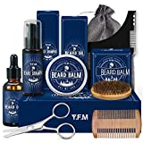 Kit de Barbe Homme, Y.F.M Coffret barbe homme complet avec Conditionneur de Barbe, Tablier Barbe Libre, Huile Barbe, Peigne, Brosse, Peigne Pochoir, Les ciseaux, 2 Ventouses, Cadeaux de Noël hommes
