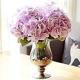 LianLe - Ramo de flores de 5 hortensias artificiales, objeto decorativo sin jarrón.