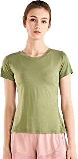 SUIUOI Women Sports Yoga T Shirt Short Sleeve Loose Fitness Running Quick Dry Training Tops