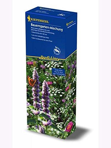 Bauerngarten Mischung, einjährig Blumenmischung für Nützlinge, 40gr. hochwertiges Blumensaatgut + 100gr Aussaathilfe im Karton, für ca. 50 m²