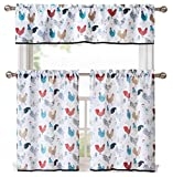 GoodGram Multi Rooster Complete 3 Pc Kitchen Curtain Tier & Valance Set - Assorted Colors … (White)