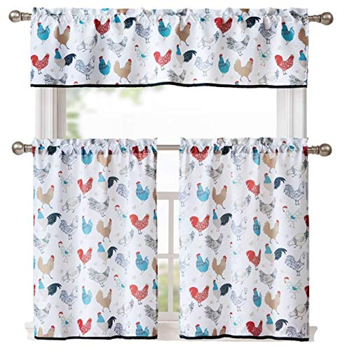 GoodGram Multi Rooster Complete 3 Pc Kitchen Curtain Tier & Valance Set - Assorted Colors