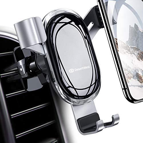 【令和モデル】DesertWest 車載ホルダー 自動開閉 スマホホルダー エアコン吹き出し口用 スマホほるだー 車 スマホスタンド 車用 携帯ホルダー 重力固定式 アイフォン車載ホルダー 電気めっき 鏡面仕上げ 取り付け簡単 重力でオートホールド 360