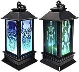 RUXMY Lámpara de Chimenea de Llama cálida, Paquete de 2 farolillos de Halloween, decoración Colgante para Fiestas, lámpara de luz LED, luz de Noche portátil, simulación de Llama, Bruja, Calavera,