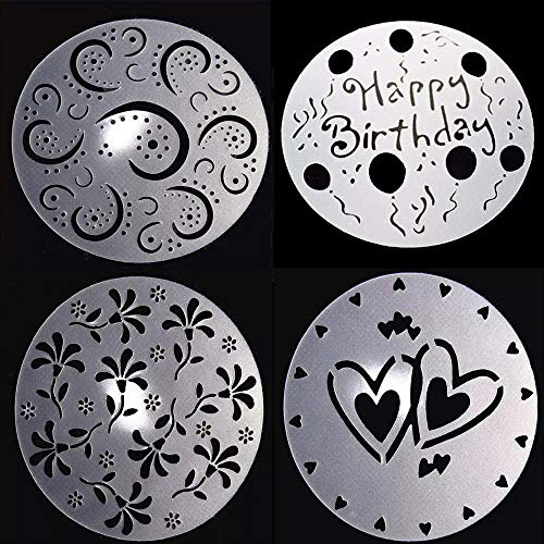 Hebudy - Juego de plantillas para tartas de cumpleaños, decoración de tartas, decoración de tartas, decoración de flores, 4 unidades