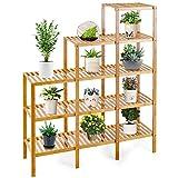 COSTWAY Pflanzenregal Bambus, Standregal mit 5 Ebenen, Raumteiler Bücherregal, Treppenregal Stufenregal Bambusregal für Badezimmer, Wohnzimmer, Küche