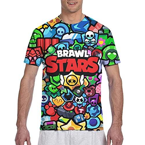 867 Qts-Hirt Br-A-Wl Funny Stars - Camiseta de manga corta con estampado 3D, diseño de estrellas divertidas, color negro