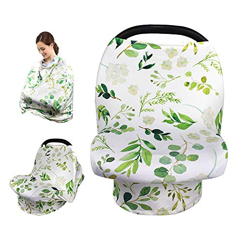 Stretchy Nursing Cover Breastfeeding Scarf, Car Seat Canopy, Soft Breathable Fabric for Infant Stroller Cover, Baby Car Seat Covers(Fresh Green)