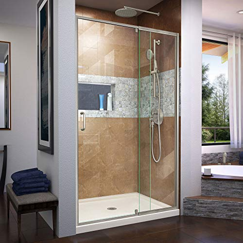Flex 36 in. D x 48 in. W x 74 3/4 in. H Semi-Frameless Shower Door in Brushed Nickel with Center Drain Biscuit Base Kit - DreamLine DL-6221C-22-04