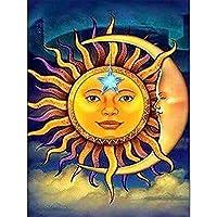 ダイヤモンド絵画、5D DIYフルダイヤモンド刺繡、ラウンド/スクエアダイヤモンド象眼細工モザイク、家の装飾、抽象的な太陽と月
