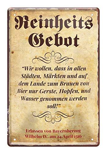 Blechschild Bier Reinheitsgebot Erlass - Metallschild mit historischer Verordnung von 1516 - Retro Deko Schild Küche Bar Stammtisch Biergarten Werkstatt Kneipe Garage - Gerste Hopfen Wasser - 20x30cm