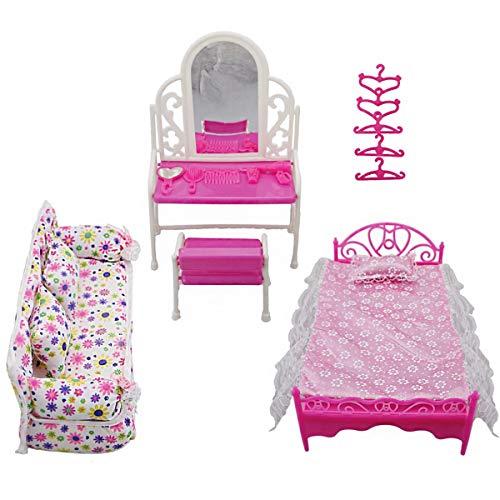DERCLIVE 8 Stück Prinzessin Möbel Zubehör Kindergeschenk Inklusive 1X Kommode Set + 1X Sofa Set + 1X Bett Set + 5X Kleiderbügel für Barbie-Puppe