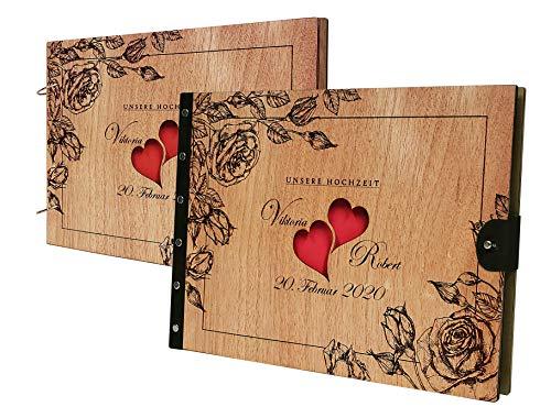 PISDEZ schönes Fotoalbum zum Selbstgestalten - Album - Fotobuch - Hochzeitsbuch - Hochzeitsalbum - Gästebuch - Zwei Herzen Design - aus Holz