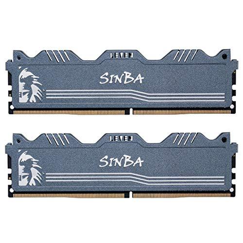 LEVEN SINBA DDR4 16 GB (2-8 GB) 3200 MHz XMP 2.0 PC4-25600 CL16 Modulo di Memoria RAM per overclocking U-DIMM 288 Pin U-DIMM per Giochi - Grigio (SINBA4U3200172408G-8Mx2)
