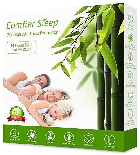 Comfier Sleep Impermeabile Coprimaterasso 160x200 cm Antiacari, Antibatterico Bambu Copri Materassi, Proteggi Materasso, Super Morbido, Altamente Traspirante, Silenzioso