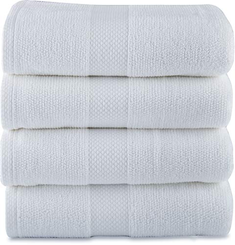 """Maura Bath Towels White Grey 100% Cotton 27""""x54"""" Large with Hanging Loops High Performance, Absorbent, Soft, Quick Dry for Daily Use. Bath Towels Set for Bathroom, Hotel and Spa Quality."""