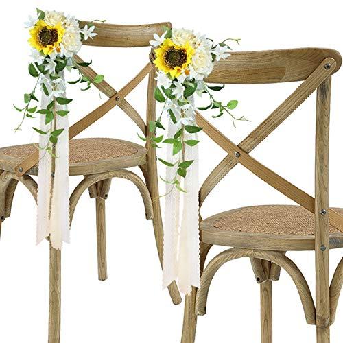 Rinlong Hochzeits-Gang-Dekorationen, Set mit 6 Kirchenstühlen, Bank, Kirchenbänken, Schleifen, Dekoration für Hochzeitszeremonie, Sonnenblumen, künstliche Blumen mit Chiffon-Bändern