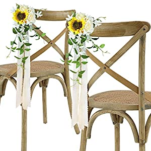 Rinlong Wedding Aisle Decorations Set of 6 Church Chair Bench Pew Bows for Wedding Ceremony Decor Sunflower Artificial Flowers with Chiffon Ribbons