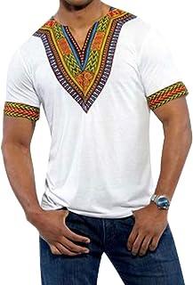 Men's African Printed Short Sleeve Dashiki V Neck T Shirt Blouse Tops