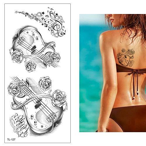 7 Blätter Temporäre Tattoo Aufkleber Haut Wasserfest Männer Frauen Kinder Schwarz Tattoo Körperkunst Kunstsymbol Musikinstrument Violine Fake Arm Schultern Tattoos Sticker Abnehmbare Für Party Festiva