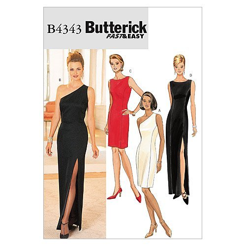 Butterick Patterns B4343 Size 6-8-10-12 Misses Petite Lined Dress, Pack of 1, White