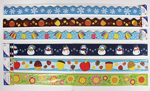 Carson Dellosa Seasonal Bulletin Board Borders—6-Pack of Scalloped and Straight Border Trim, 79 Strips of Colorful Winter, Spring, Fall Decorations (225 ft) Photo #4
